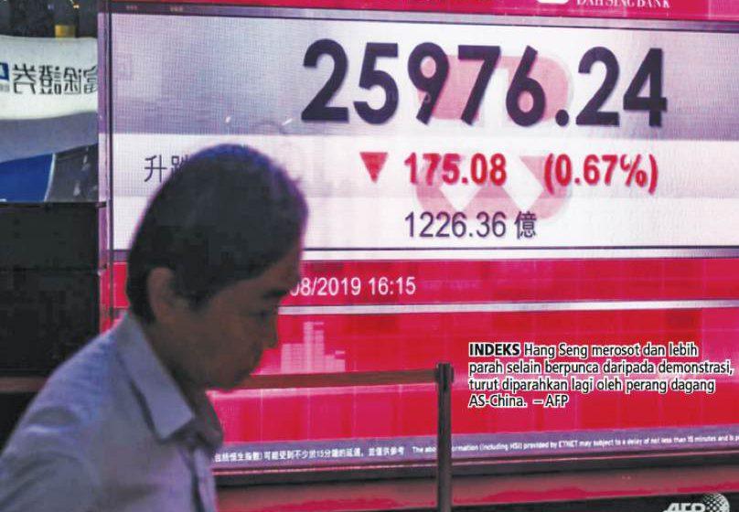 Demonstrasi pecah lebih dua bulan, saham Hong Kong jatuh 543 mata