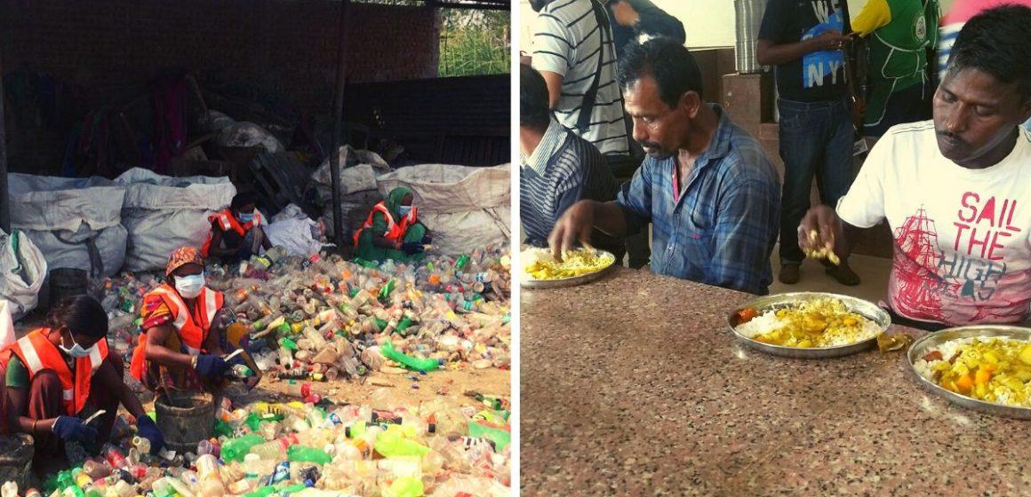 Penduduk tukar plastik terpakai dengan makanan