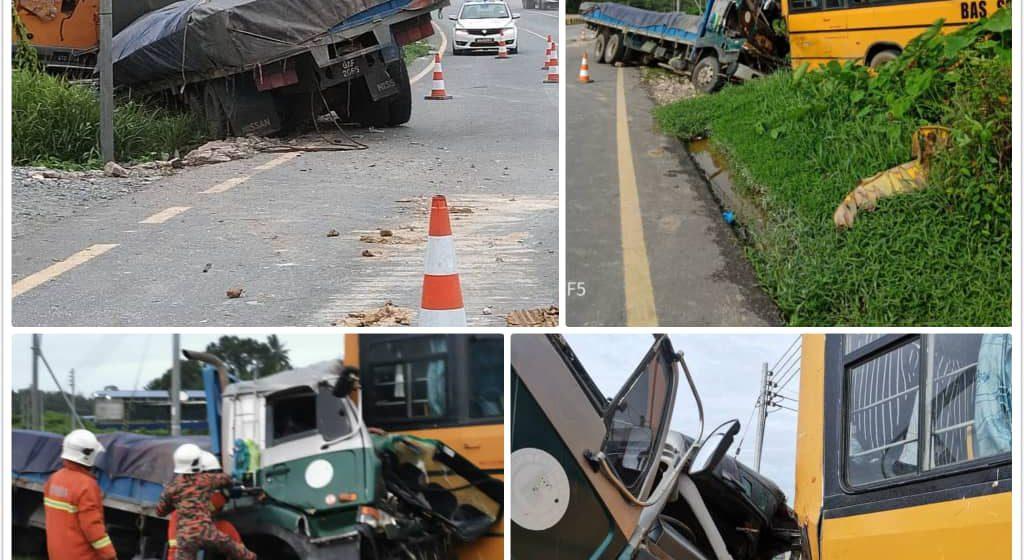 Kelindan mati, lori langgar bas sekolah
