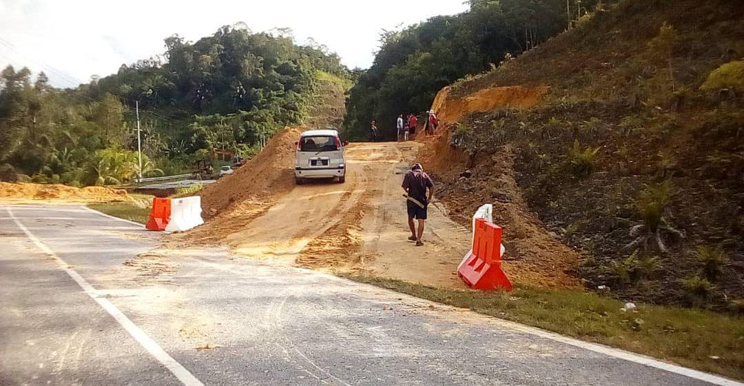 Laluan sementara di KM2.4 Jalan Nanga Buai Merunjau/Spak sudah boleh dilalui