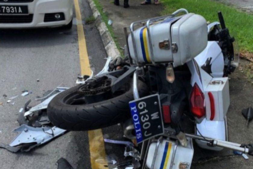 Seorang polis rondaan dirempuh Mercedez Benz