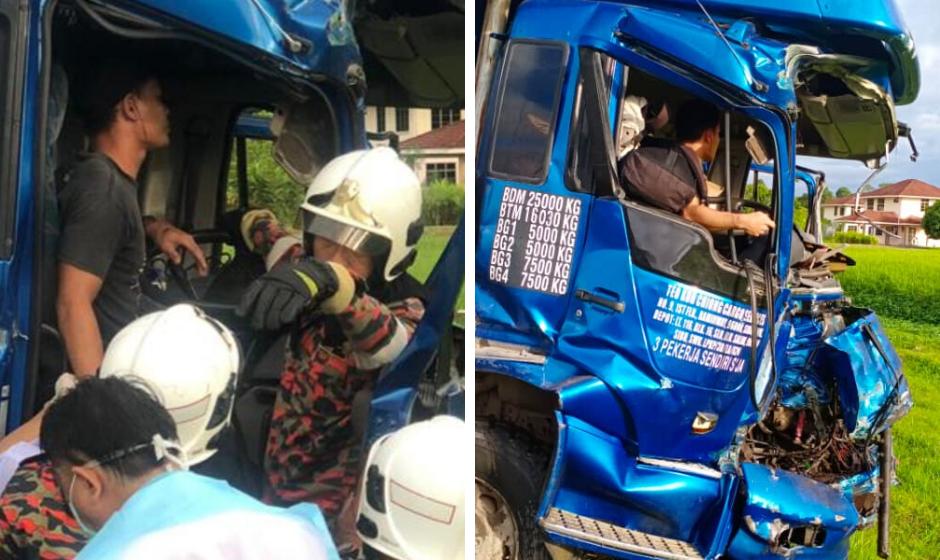 Kemalangan dua buah lori di Mukah, empat cedera parah