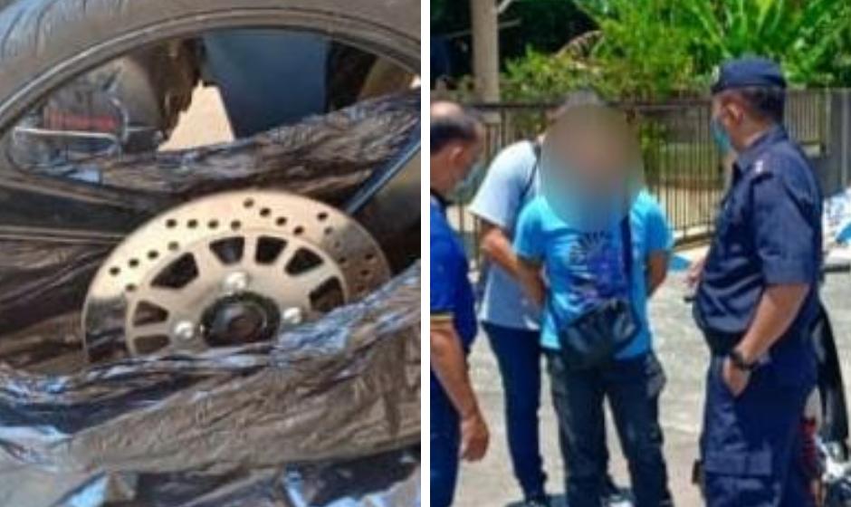 Pencuri rim dan tayar motosikal berjaya ditangkap