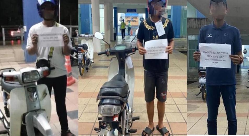 Tiga lelaki menunggang motosikal dengan aksi berbahaya ditangkap di Sibu