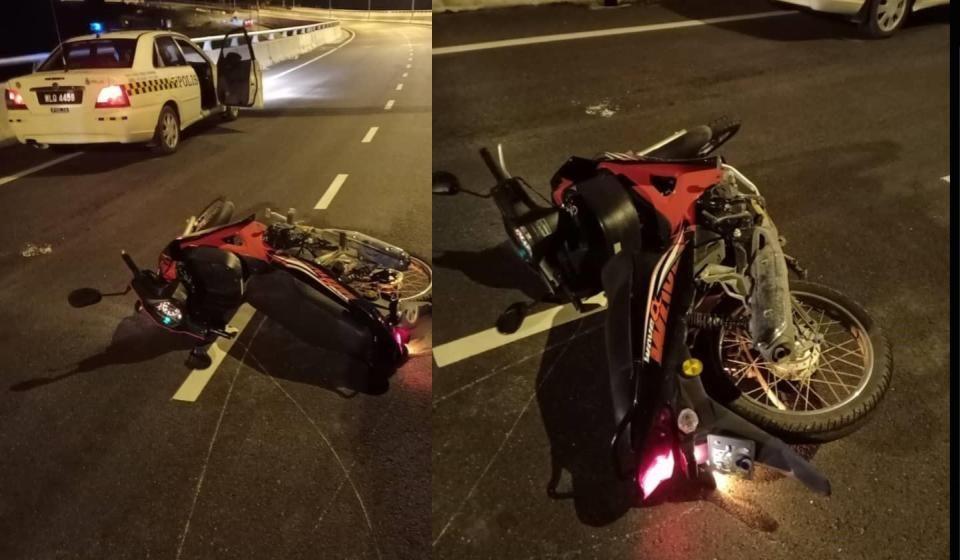 Penunggang motosikal maut setelah terbabas di jejambat Serian