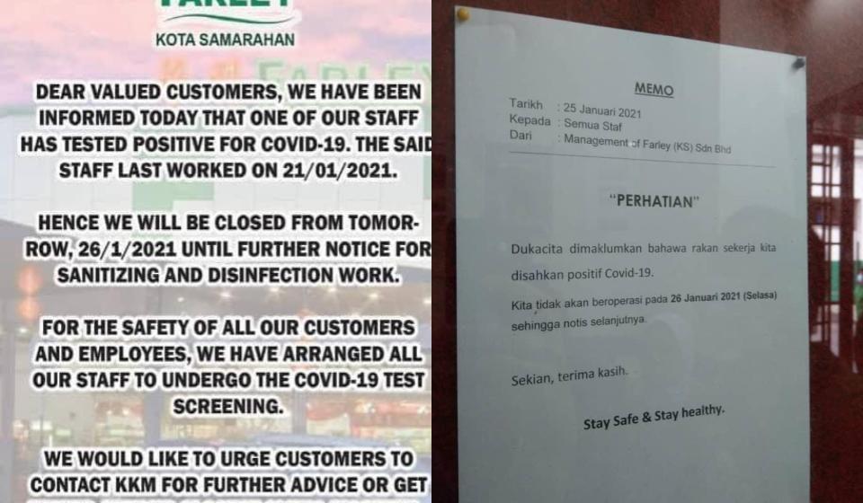Farley Kota Samarahan ditutup sementara mulai esok