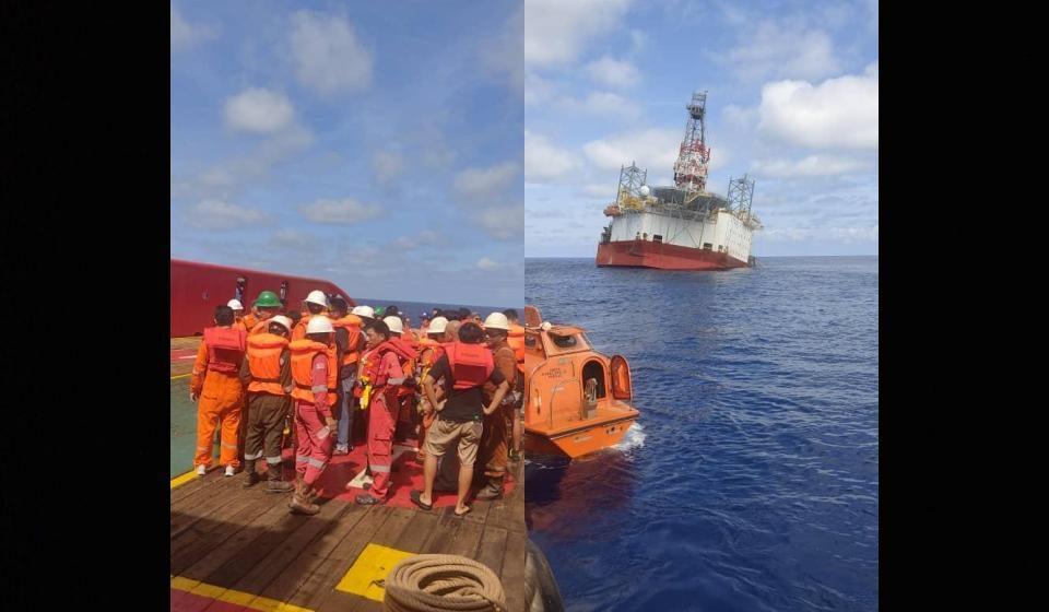 Pelantar minyak tenggelam, 101 kru NAGA 7 selamat