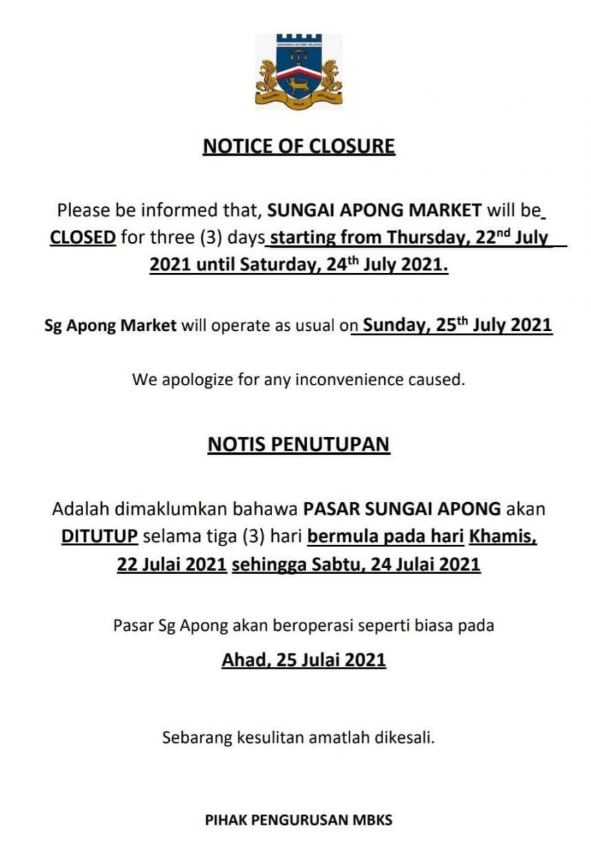 Pasar Komuniti Stutong dan Pasar Sungai Apong ditutup sementara